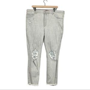 Express distressed high rise raw hem jean leggings